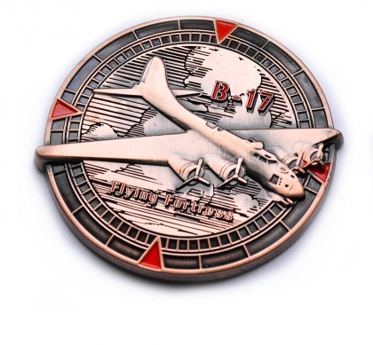 Flying Fortress Geocoin - Antique Copper